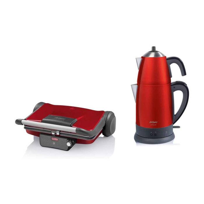 Resim  Arzum AR9013 Pro Mini 2'li Set - Çay Makinesi + Tost Makinesi / Kırmızı