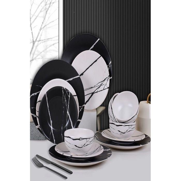 Resim  Keramika Mermer Yemek Takımı 6 Kişilik (Siyah / Beyaz) - 24 Parça