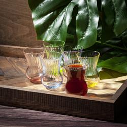 Cemile Optica Renkli 6'lı Çay Bardağı - 150 cc