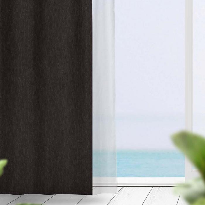 Resim  Premier Home Flamlı Blackout Fon Perde (Koyu Kahverengi) - 140x270 cm