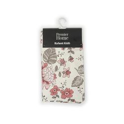 Premier Home Çiçek Desenli Kırlent Kılıfı (Bej / Kırmızı) - 43x43 cm