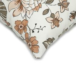 Premier Home Çiçek Desenli Kırlent Kılıfı (Bej / Kahverengi) - 43x43 cm