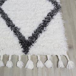 Koza Halı Marakesh 0500E Shaggy Halı (Beyaz/Antrasit) - 200x290 cm