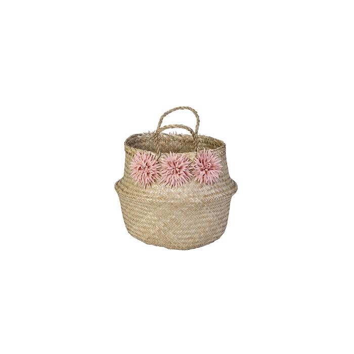 Resim  Kanca Katlanabilir Çiçekli Hasır Naturel Sepet - 29 cm