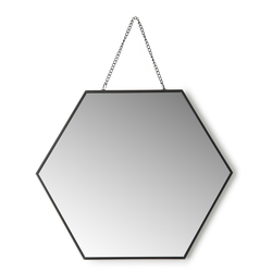 Q-Art Geometrik Dekoratif Ayna (Siyah) - 25 cm