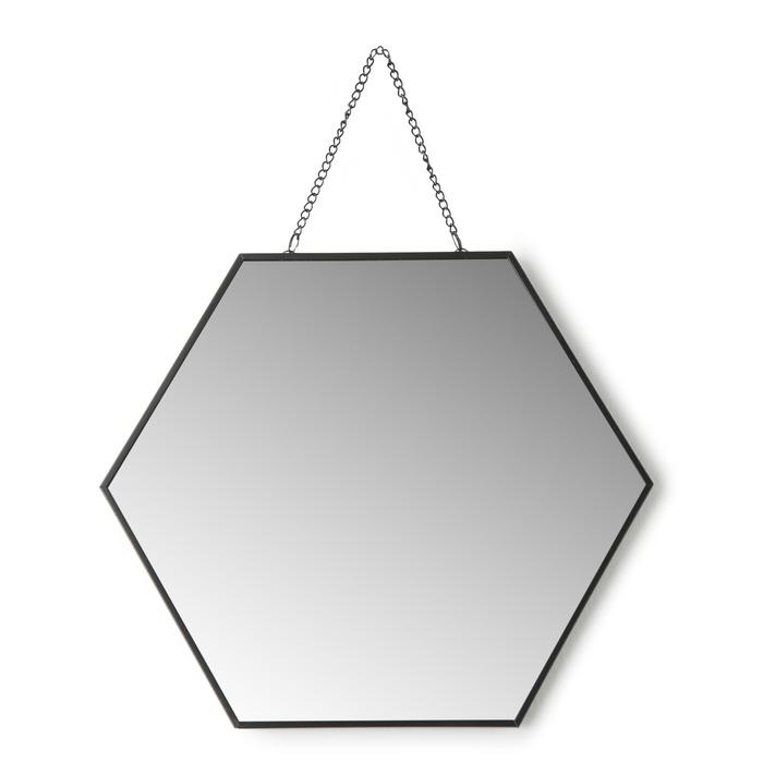 Resim  Q-Art Geometrik Dekoratif Ayna (Siyah) - 25 cm
