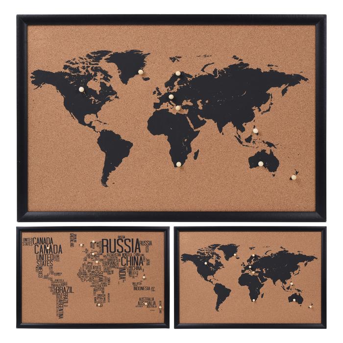 Q-Art Dünya Haritası Mantar Pano - 60x45 cm - Asorti