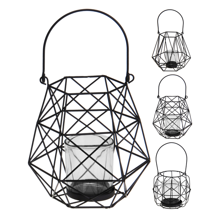 Q-Art Geometrik Metal Mum Feneri - Siyah