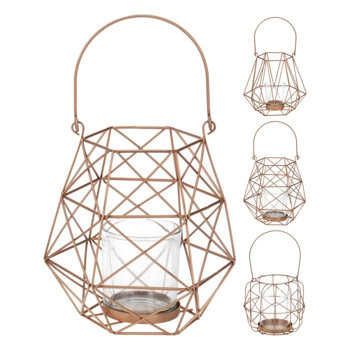 Resim  Q-Art Geometrik Metal Mum Feneri - Gold