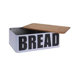 Excellent Houseware Bambu Kapaklı Metal Ekmek Kutusu