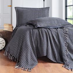 Evim Home Stripe Çift Kişilik Yatak Örtüsü Takımı - Lacivert
