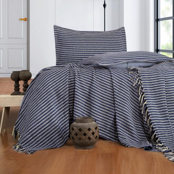 Evim Home Stripe Çift Kişilik Yatak Örtüsü Takımı - İndigo