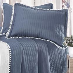 Evim Home Ponponlu Çift Kişilik Yatak Örtüsü Takımı - Parlement Mavisi