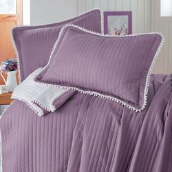 Evim Home Ponponlu Çift Kişilik Yatak Örtüsü Takımı - Açık Mürdüm