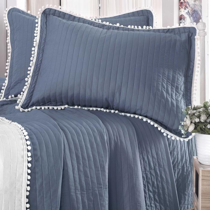 Evim Home Ponponlu Tek Kişilik Yatak Örtüsü Takımı - Parlement Mavisi