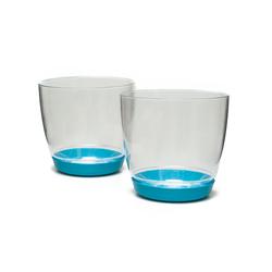 Favilla Yuvarlak 2'li Orkide Saksı (Mavi) - 14 cm