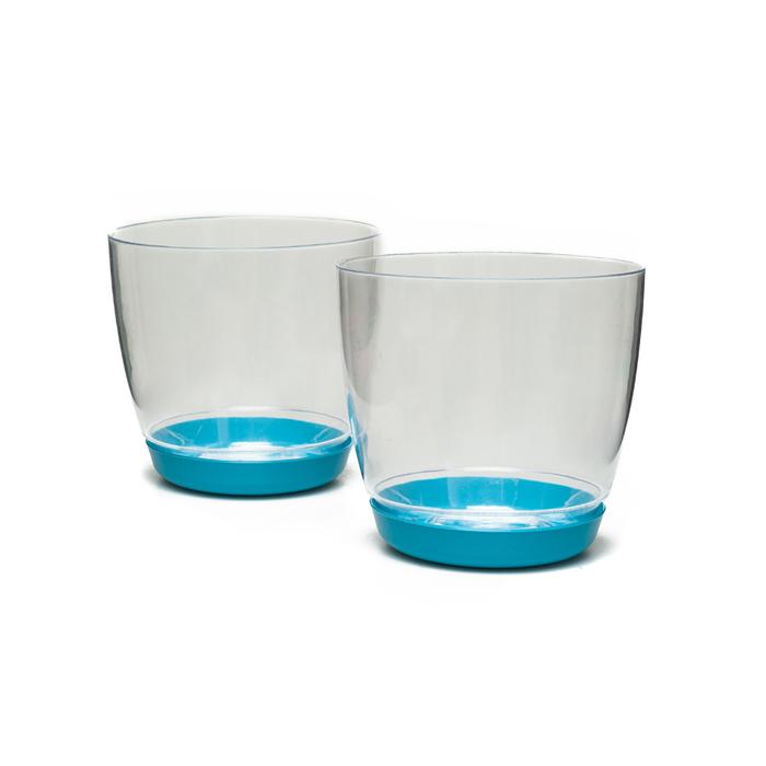 Resim  Favilla Yuvarlak 2'li Orkide Saksı (Mavi) - 14 cm
