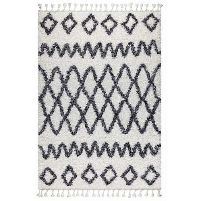 Koza Halı Marakesh 0419A Shaggy Halı (Beyaz/Antrasit) - 80x150 cm