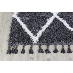 Koza Halı Marakesh 0500E Shaggy Halı (Antrasit/Beyaz) - 80x150 cm
