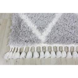 Koza Halı Marakesh 0500E Shaggy Halı 120x180 cm - Gri/Beyaz