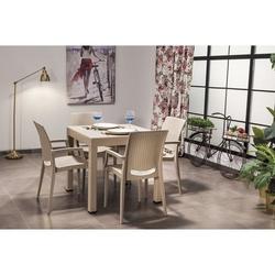 Mobetto Rattan Masa Seti Lüks Sandalye – Cappucino