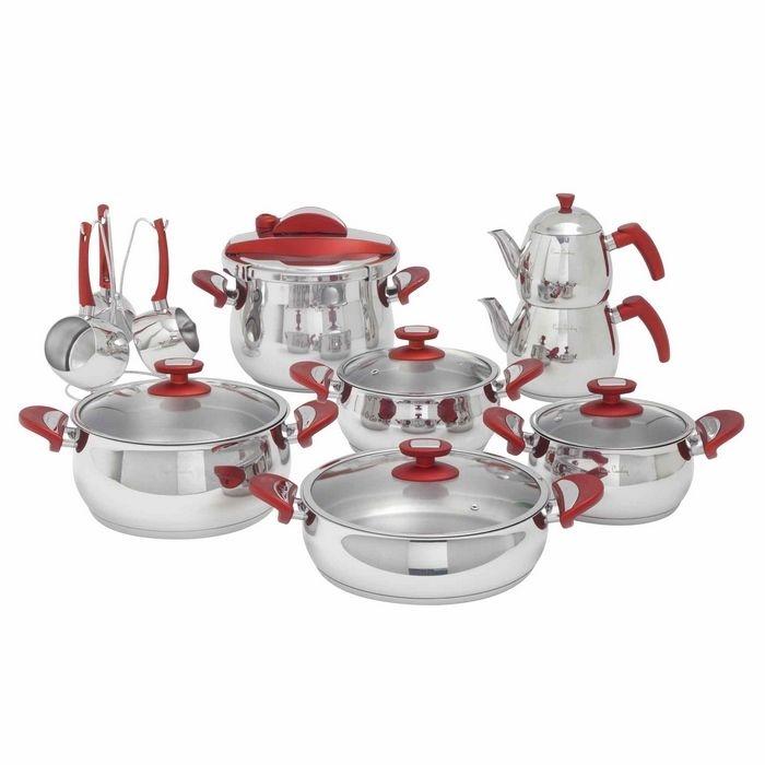Pierre Cardin 71103330 18 Parça Çelik Crown Tencere Seti - Kırmızı