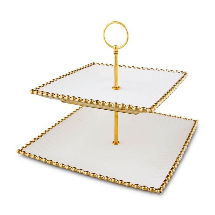 Pierre Cardin 71115324 2 katlı Porselen Bright Servis - Altın