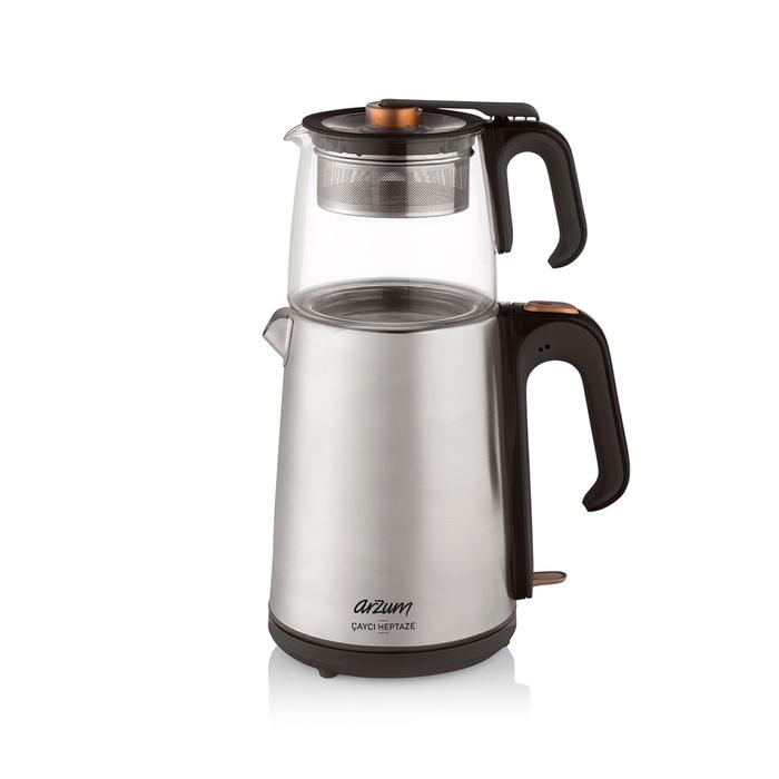 Resim  Arzum AR3024 Çaycı Heptaze Cam Demlik Çay Makinesi - Paslanmaz Çelik / 1,8 lt