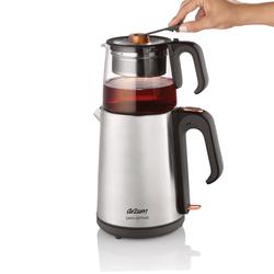 Arzum AR3024 Çaycı Heptaze Cam Demlik Çay Makinesi - Paslanmaz Çelik / 1,8 lt