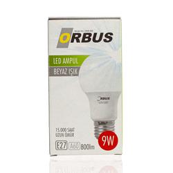 Orbus A60 LED 9 watt, E27 800 Lm, Ra70 220- 240V/50Hz, 6400K 6400 k Beyaz Işık Ampul