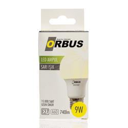 Orbus A60 LED 9 watt, E27 740 Lm, Ra80, SARI Işık, 220- 240V/50Hz, 3000K 3000 k Sarı Işık Ampul
