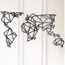 Modacanvas Geometrik Dünya Haritası Metal Tablo