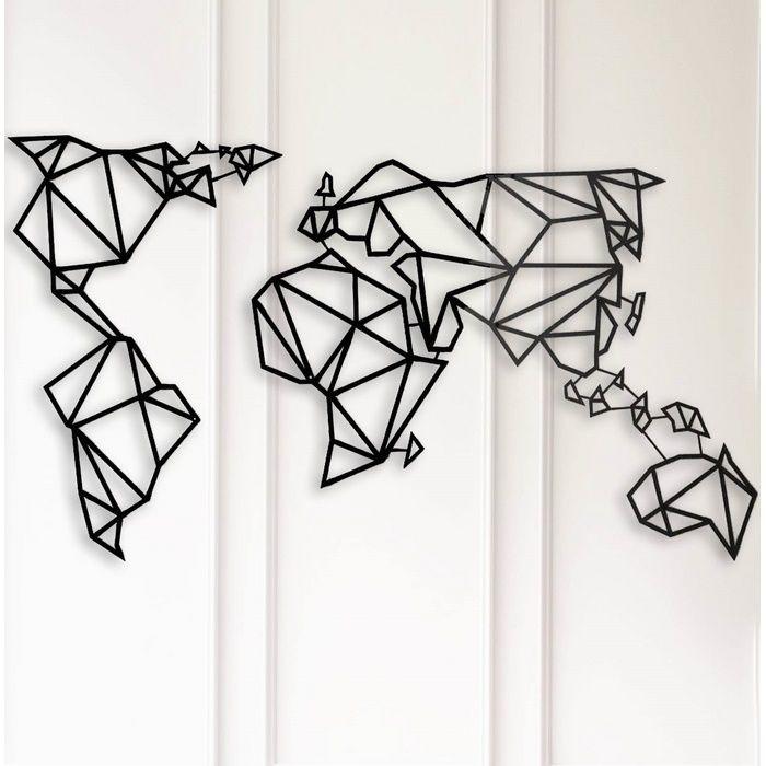 Resim  Modacanvas Geometrik Dünya Haritası Metal Tablo