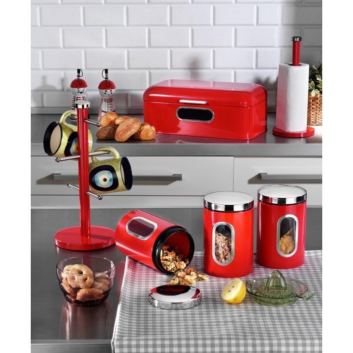 Resim  Kitchen World 6 Parça Lüx Metal Kırmızı Mutfak Seti