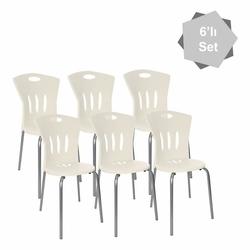 Modelight 6'lı Plastik Sandalye Seti - Beyaz