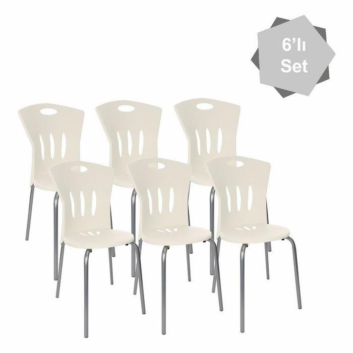 Resim  Modelight 6'lı Plastik Sandalye Seti - Beyaz
