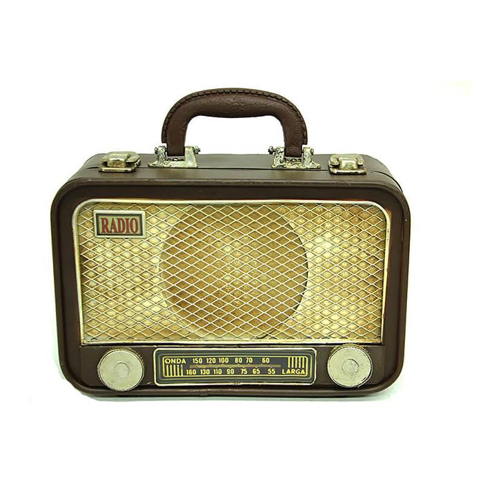 MNK Home C0253 Dekoratif Metal Radyo Bavul