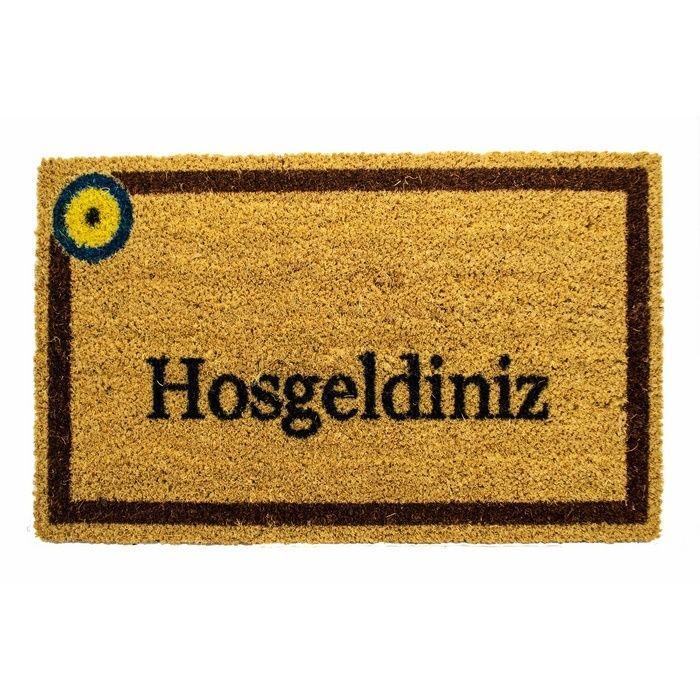 Giz Home Koko Hoşgeldiniz Nazar Boncuğu Kapı Paspası (Kahverengi) - 33x55 cm