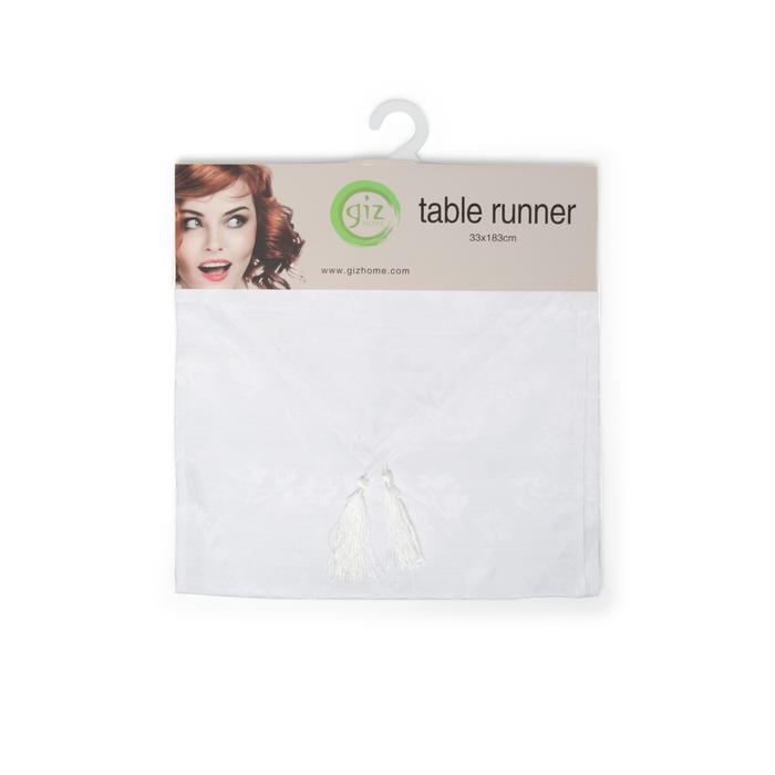 Giz Home Runner (Beyaz Desenli) - 33x183 cm