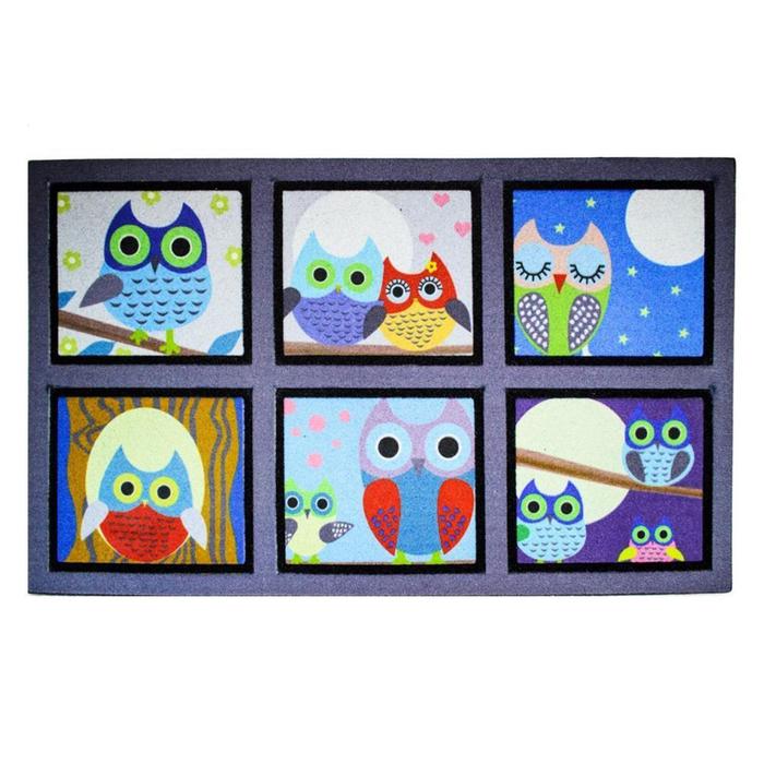 Resim  Giz Home Mozaik Kapı Paspası (Mavi) - 45x75 cm