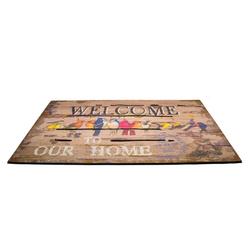Giz Home Mozaik Welcome Kuşlar Kapı Paspası - 45x75 cm