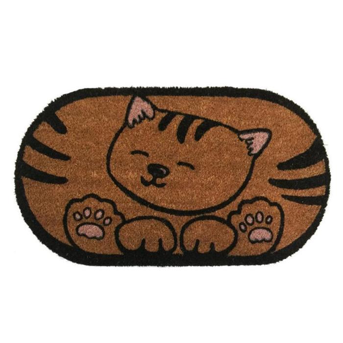 Giz Home Koko Kedili Kapı Önü Paspası - 40x80 cm