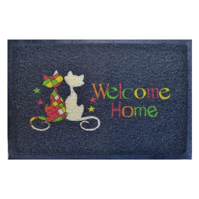 Giz Home Kıvırcık Kediler Kapı Önü Paspası (Mavi) - 40x60