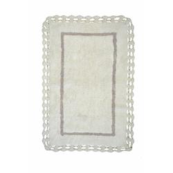 Giz Home Lace Bordürlü Banyo Paspası (Beyaz) - 60x100 cm