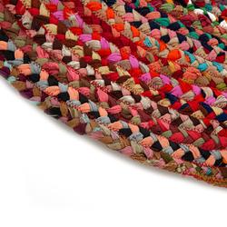 Giz Home Y01 Bolero Jüt Örgü Yuvarlak Kilim (Renkli) - 90 cm