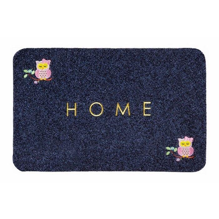 Giz Home Baykuş Nakışlı Brode Kapı Paspası (Gri) - 40x60 cm