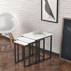 Just Home Bello Zigon Sehpa - Beyaz/Siyah