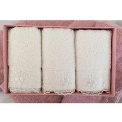Cotton Box 6'lı Güpürlü Havlu Seti - Krem/Pudra