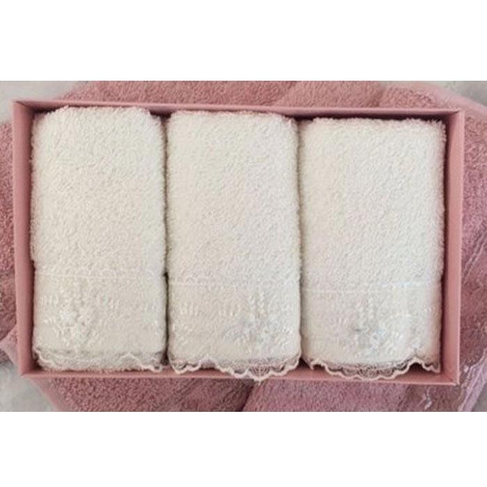 Resim  Cotton Box 6'lı Güpürlü Havlu Seti - Krem/Pudra