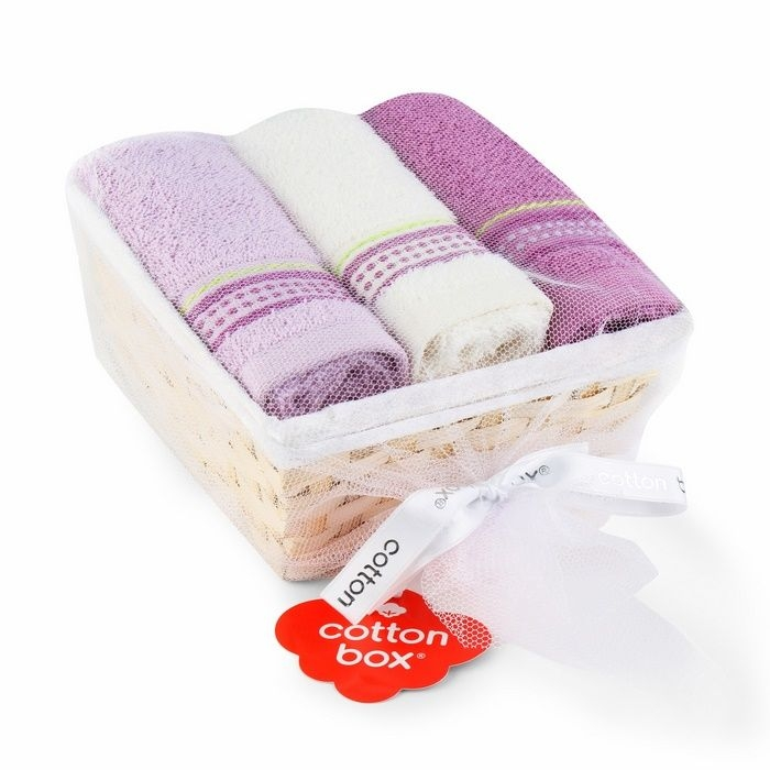 Resim  Cotton Box 3'lü Sepetli Havlu Seti - Ekru/Lila/Mor